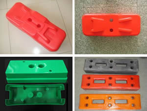 the combination of two kinds of blow mould feet, injection mould feet and rubber feet.