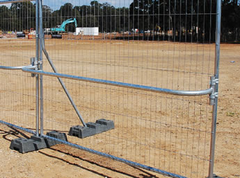 Australia portable fence hand rails are installed on the fence panel.