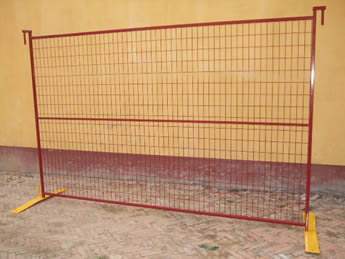 A piece of red Canada portable fence panel with horizontal middle frame.