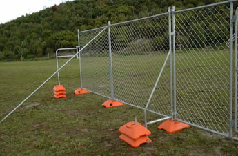 Three kinds of chain link portable fence bracings are installed on the fence panels.