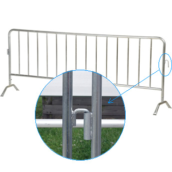 A piece of crowd control barrier with a unit of interlock system.