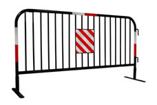 A piece of black powder coated crowd control barrier with four reflective strips on it.