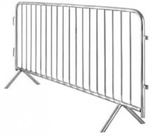 A piece of crowd control barrier with fixed feet.