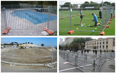 Chain link fence in construction site, police barrier in demonstration, portable pool fence in swimming pool renovating, welded portable fence in sports ground.
