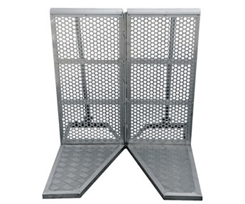A piece of angular panel stage barrier.