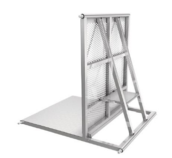 A piece of stage barrier with steel tube base feet.